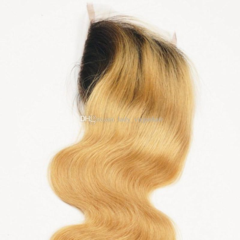 4x4'' Peruvian Human Hair Lace Closure Piece Free Middle Three Part Two Tone 1B/27 Honey Blonde Dark Root Ombre Body Wave Closures