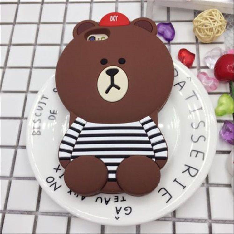 Dessin animé 3D T-shirt ours brun et Cony lapin couverture arrière en caoutchouc de silicone souple pour iphone 6 iphone 6s 6 plus iphone 7 plus