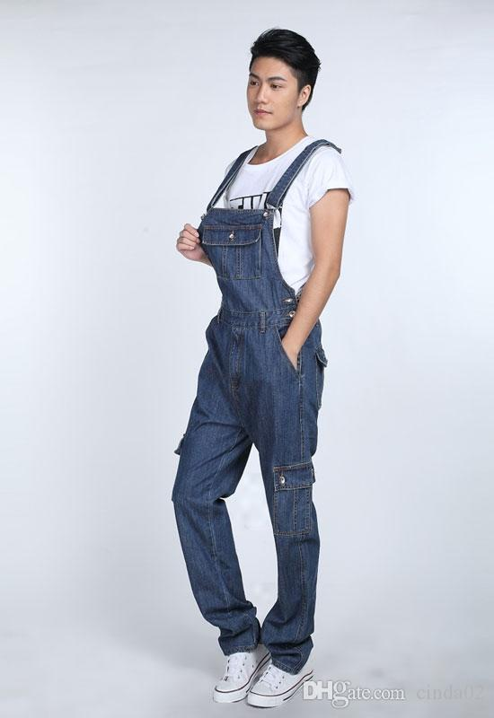 Moda casual para hombre del dril de algodón de los guardapolvos del mono macho nuevo estilo Jeans Monos Bib Pantalones para hombres