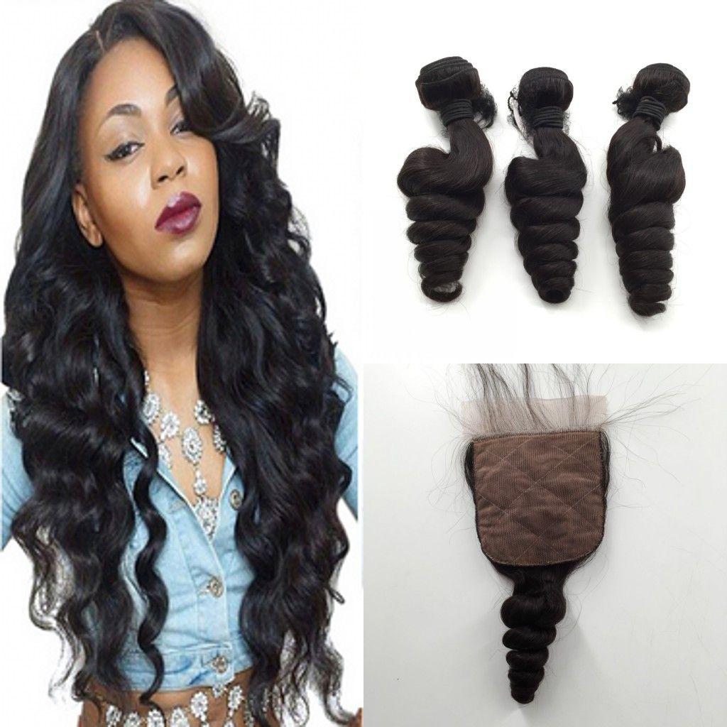 c13e3cd0048dc3 Top Silk Closure With Bundles Brazilian Virgin Hair Loose Wave Hair Weave  Bundles With Closure Brazilian Virgin Hair With 3 Types Closure Curly Hair  Weave ...