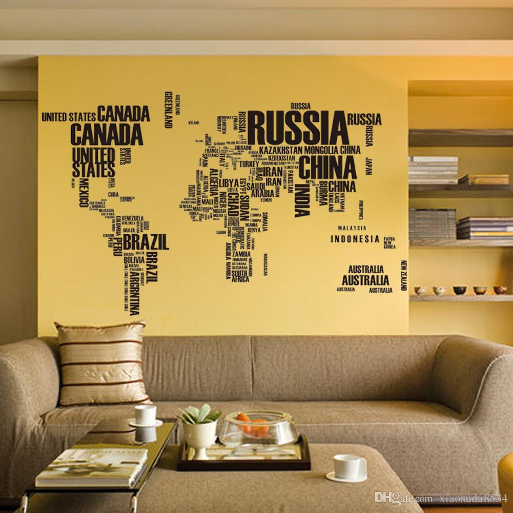 Fashion Black Country Name World Map Wall Stickers Diy Home