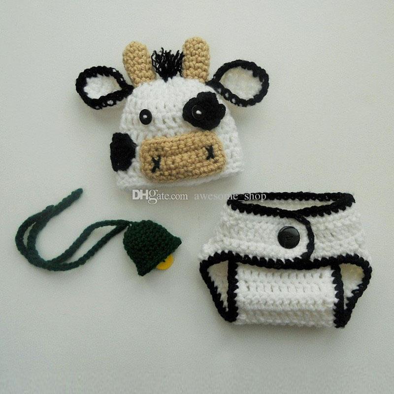 Newborn Cute White Cow Costume,Handmade Crochet Baby Boy Girl Farm Cow Cap,Diaper Cover,Bell Set,Animal Beanie,Toddler Photography Prop