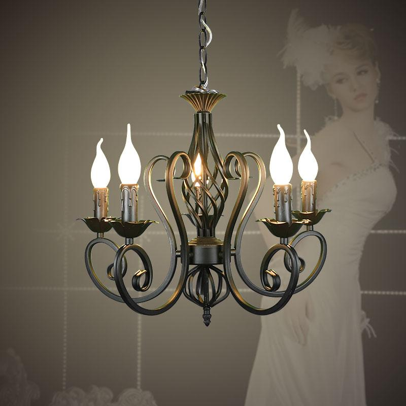 For Foyer living room bedroom dinning room use modern vintage 5 arms classical Iron matt black candle light chandelier