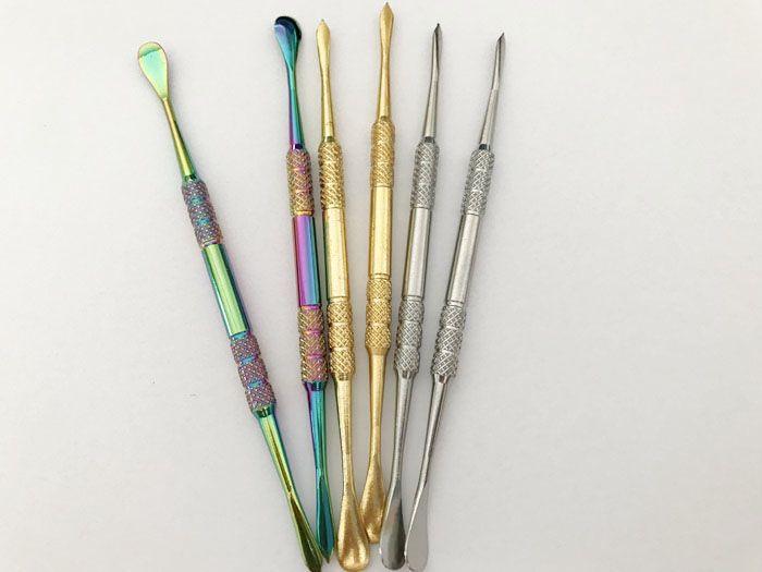 10 pz 121mm Arcobaleno In Acciaio Inox Color Oro Cera Strumento Dabber Strumento di Cera erba secca penna vaporizzatore Vetro Globo Atomizzatore