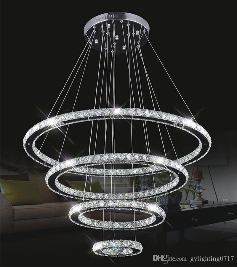 Modern led hanging chandeliers k9 crystal suspension for Lustre suspension moderne