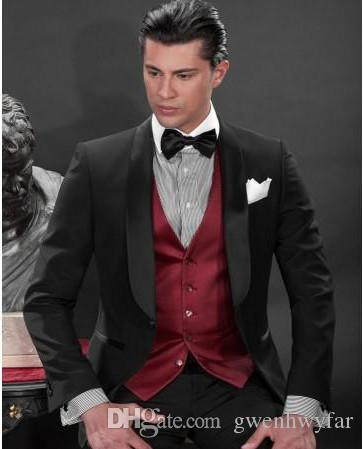 На Заказ Черный Одна Кнопка Жених Смокинги Шафран Атлас Отворотом Жениха Мужчины Свадебные Костюмы Жених Куртка + Брюки+Жилет