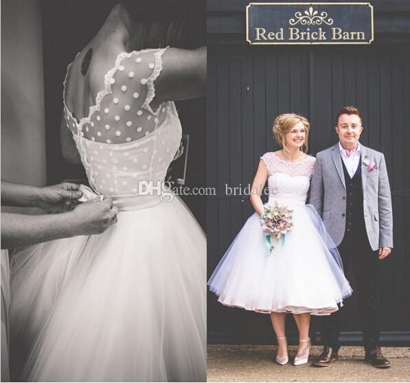Abiti da sposa vintage anni '50 stile polka punteggiato lunghezza tè abiti bianchi poco vestidos de novia abiti da sposa spiaggia