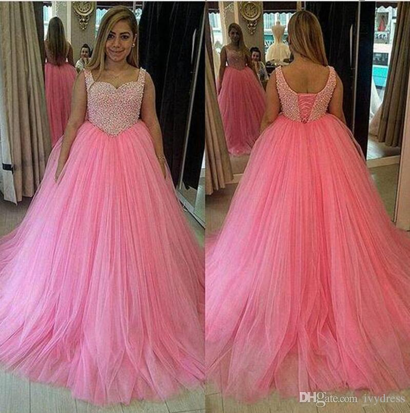 Tank Straps Corset Back Prom Dresses Long Baby Pink Puffy Tulle ...
