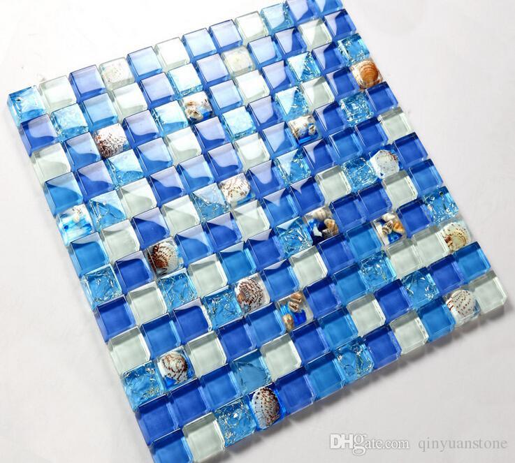 Mosaico de vidro da telha da piscina azul parede mosaico mosaico de conchas fundo TV parede montada malha casa de banho telha seashell Mosaico Mediterrâneo
