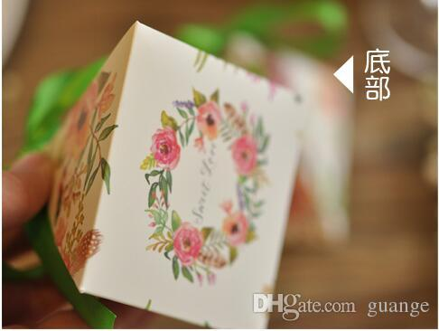 European style purple pink red flower color Pearl paper triangle pyramid Wedding box Candy Box gift boxs wedding favour boxes 000189