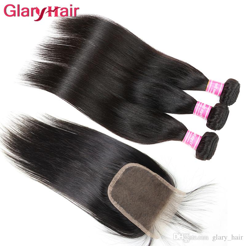 8a Peruvian Malaysian Brazilian Straight Hair Weave Bundles and Top Lace Closure Unprocessed Hair Weaves Closure Cheap Human Hair Extensions