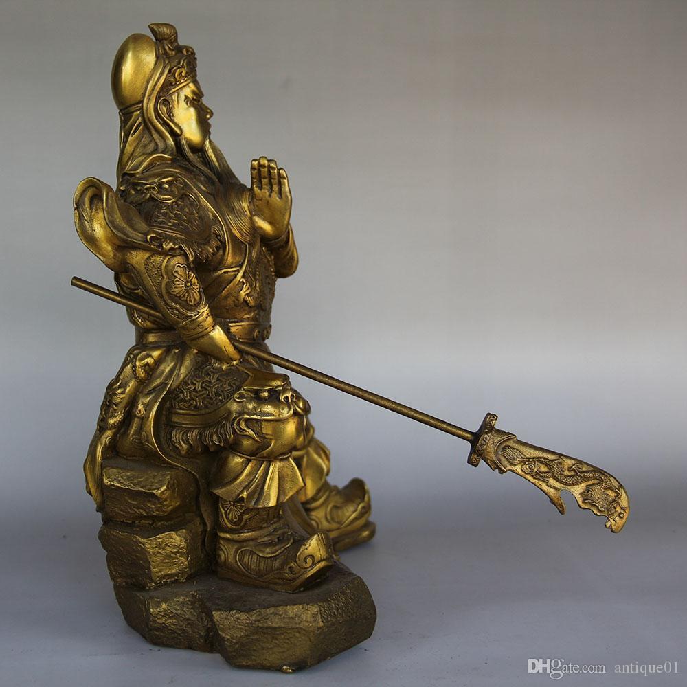 Chinese FengShui Pure Bronze Warrior God GuanGong GuanYu big knife Statue