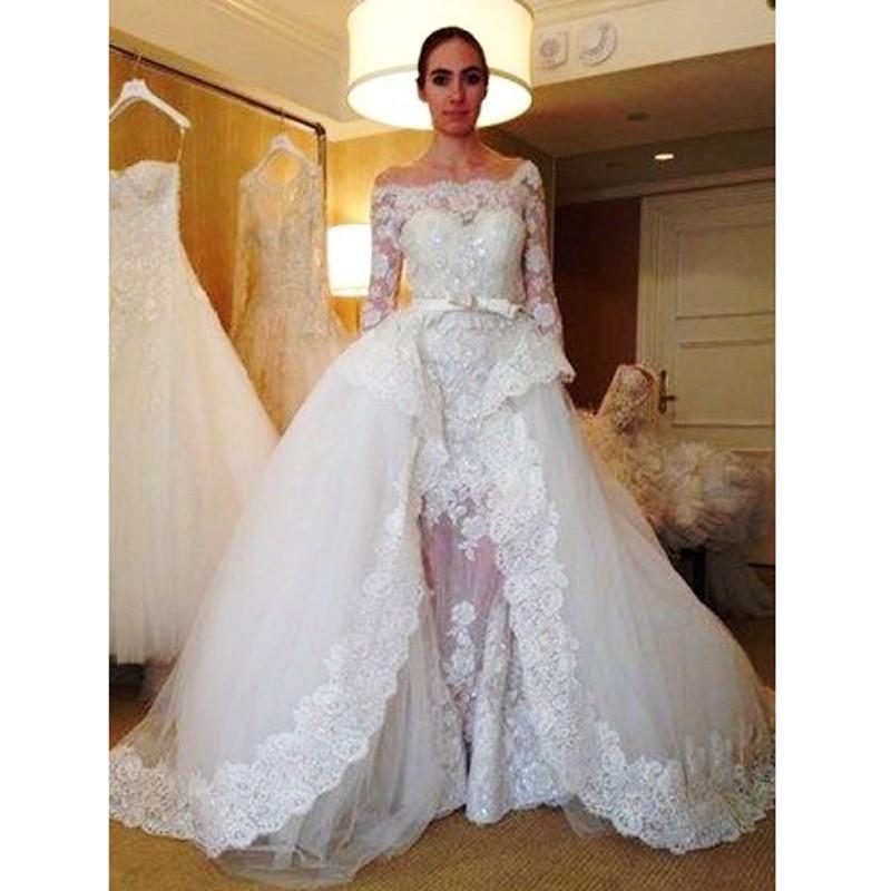 Boat neck lace sheath long sleeves wedding dress 2016 custom made zuhair murad bridal dress with detachable train vestiods wedding gown
