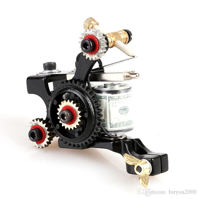 NEW! Beautiful Handmade Mini Gearwheel Tattoo Machine Shader 10 Wrap Coils Supplies tattoo & body art TM8394