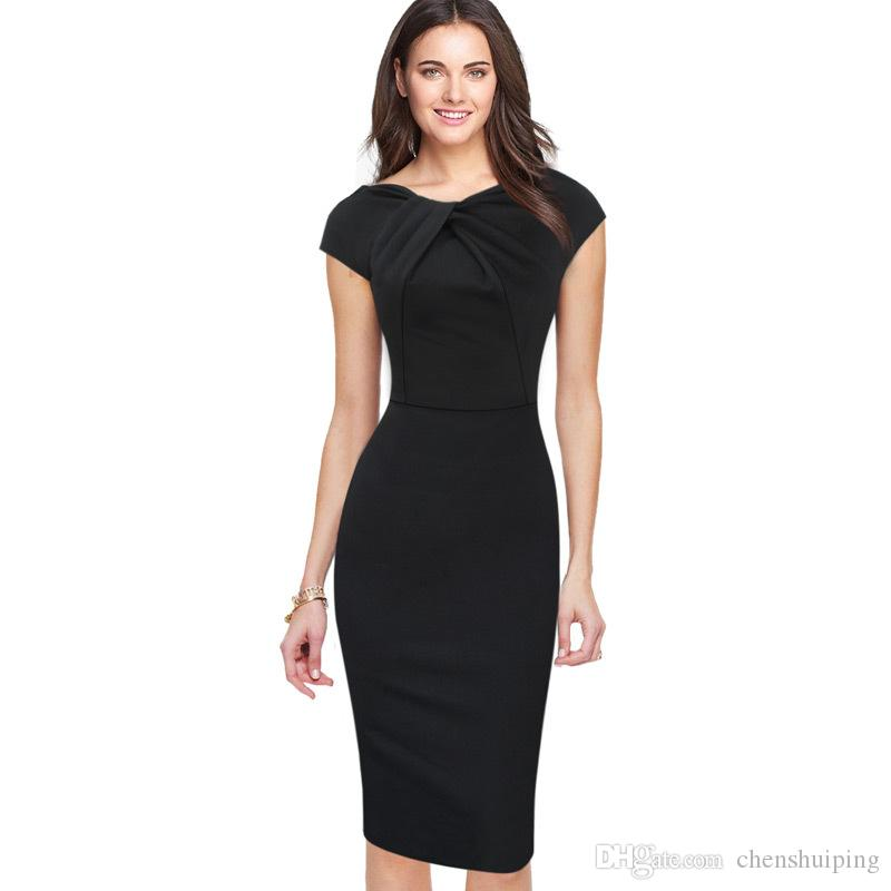 New Fashion OL Women Ladies Office Casual Dress Clothes Knee-length Bodycon  Slim Pencil Party Dress Plus Size Party Dresses Online with  21.56 Piece on  ... 73f0f71c8000