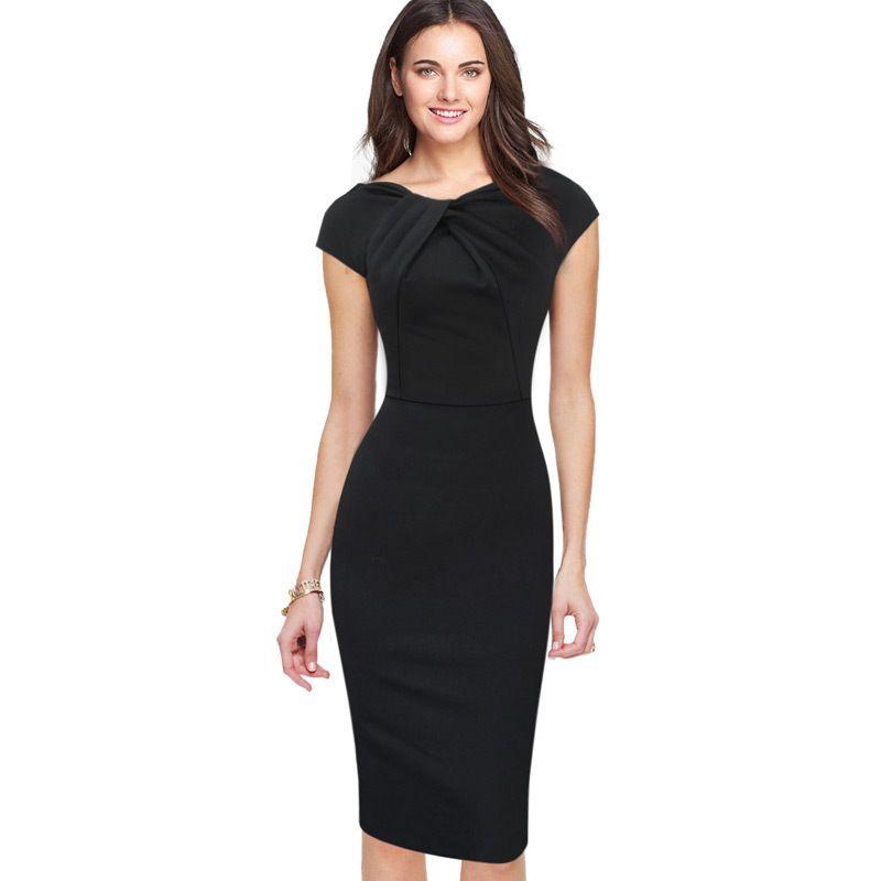 24d1a6aa8cc Acheter Nouveau Mode OL Femmes Dames Bureau Casual Robe Vêtements Vêtements  Longueur Au Genou Moulante Slim Crayon Robe De Fête Plus La Taille  Livraison ...