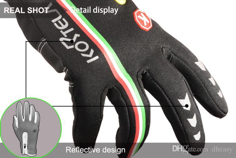 Nouvelle mise à niveau Gants de vélo d'hiver Full Finger Guantes Ciclismo écran tactile Hommes Femmes chaudes VTT Vélo Vélo Gants coupe-vent pour Smartphone