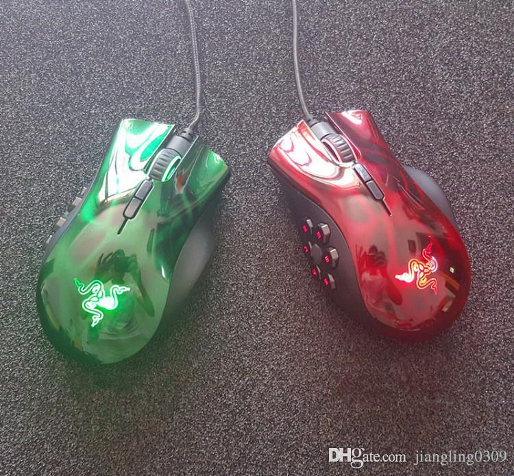 Razer Naga expert moba gaming mouse Six awn star hexagram USB wired game  mouse OEM version red/green MOBA/ARPG Luminous mouse