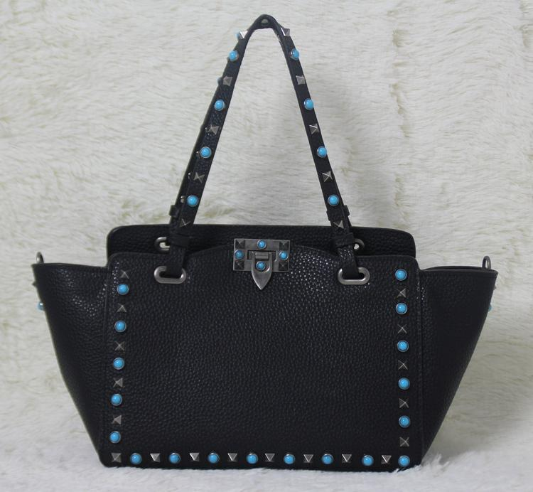 high quality~ w332 s/l genuine leather gem stud tote shopping bag black