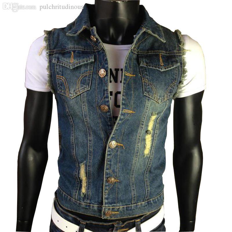Acquista Autunno XXXXXXL Strappato Jean Jacket Mens Denim Vest Gilet Jeans  Cowboy Marca Senza Maniche Giacca Da Uomo Canotta In Uomo Capispalla Da Uomo  A ... 6b3796c73d8
