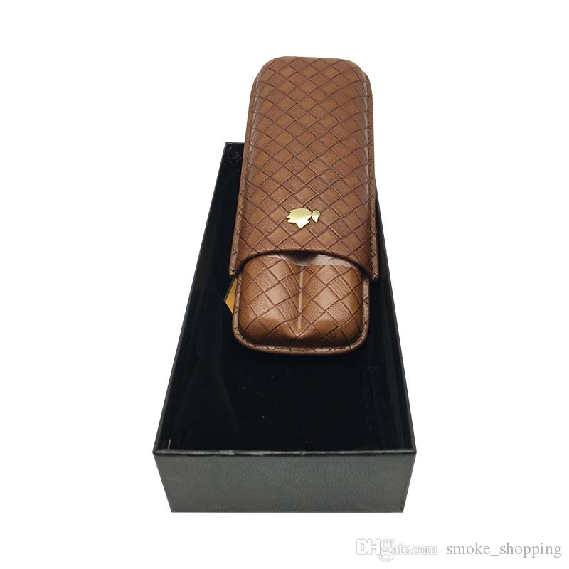 COHIBA Gadgets New Brown Leather Holder 2 Tube Travel Cigar Case Humidifier Portable Travel Cigars Humidor