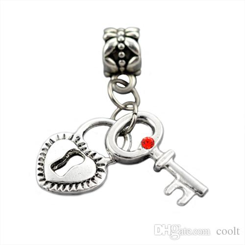zinc alloy Crystal Love Heart Key Lock Charm Fit pandora Charms Beads Bracelets&Bangles DIY Jewelry Making With Rhinestone
