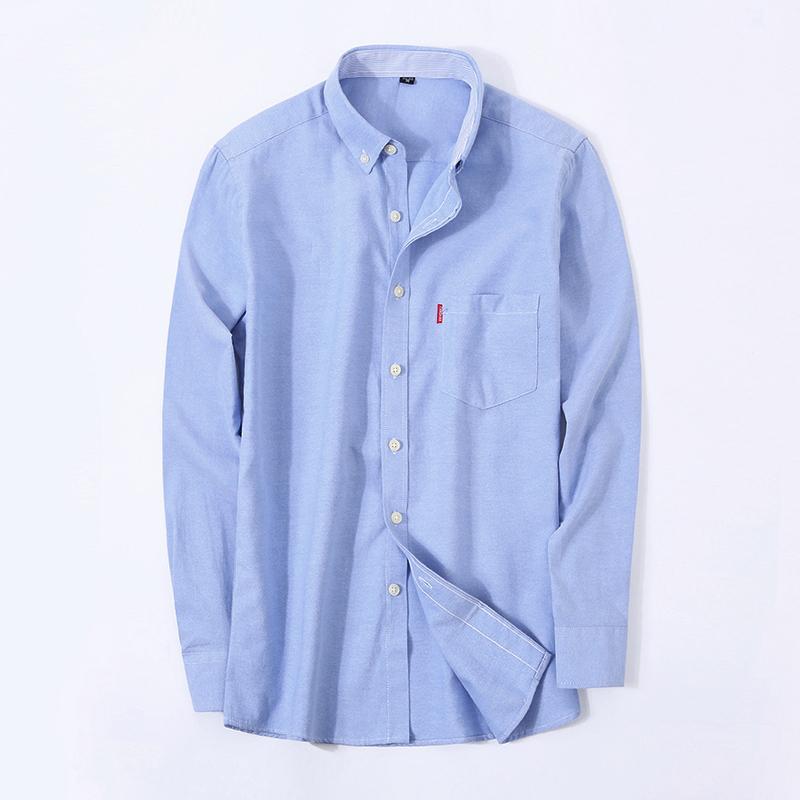 bccda403057 Wholesale- Men s Oxford Shirt Business Casual Social Shirts Turn-down  Collar Men s Long Sleeve Dress Shirt Brand Men Clothing Denim Shirts