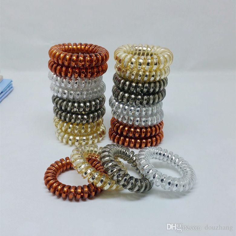 100 adet / grup 4 Renkler 3.5 cm Saç Aksesuarları Telefon Kablosu Telefon Plastik Kayış Saç Bandı Saç Halat Saç Bağları Headbands