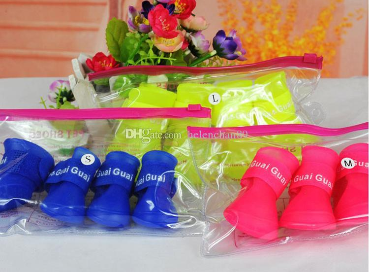 Candy Waterproof Pet Dogs Rain Boot Soft Silicon Puppy Pets Rain Shoes