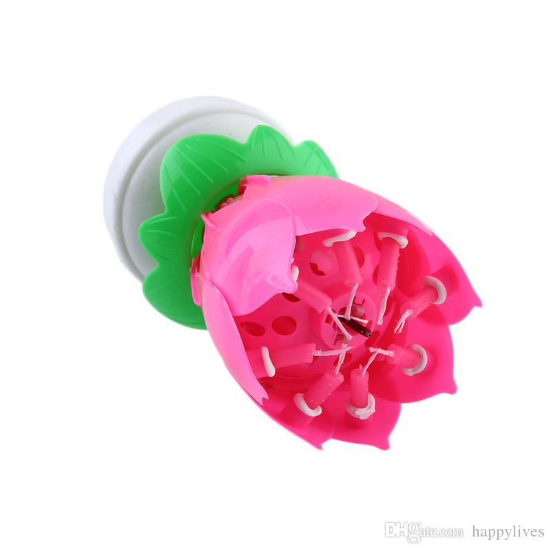 Musikalische Kerze Musical Lotus Rotating alles Gute zum Geburtstag Kerze leuchtet rot musikalische Kerze Blume Kerze Musik Blume Geburtstag Kerze
