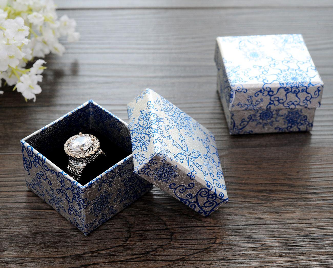 [Semplice Sette] di stile cinese Blue Pattern anello Gift Box, Festival orecchino di modo pacchetto, carta collana imballaggio al minuto Piccolo