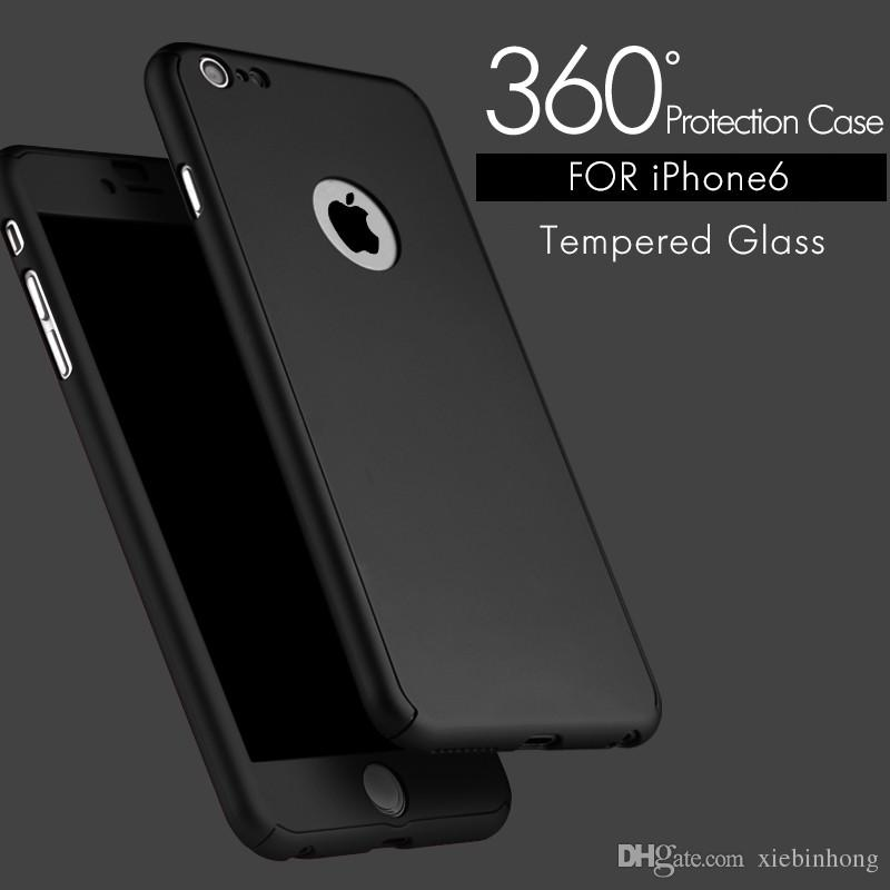 5a3af9aff0b Ultra Thin Hard Hybrid PC 360 Full Body Coverage Protective Case Cover    Skin With Slim Tempered Glass Screen Protector For IPhone 6 6s Plus Cell  Phone ...