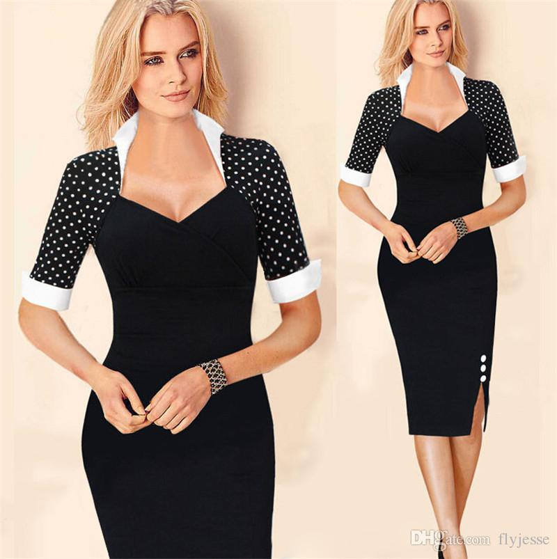 Elegant women summer club evening dress 2016 fashion houndstooth black work party bodycon tight evening dress for lady