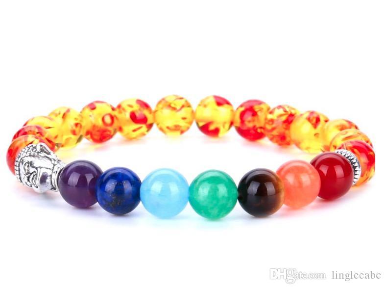 7 Chakra Gümüş Kaplama Buda Karışık Renkli Boncuklu Bilezikler taş Charm Takı Yoga Enerji Bilezik Bilezik Unisex Lav Bilezik