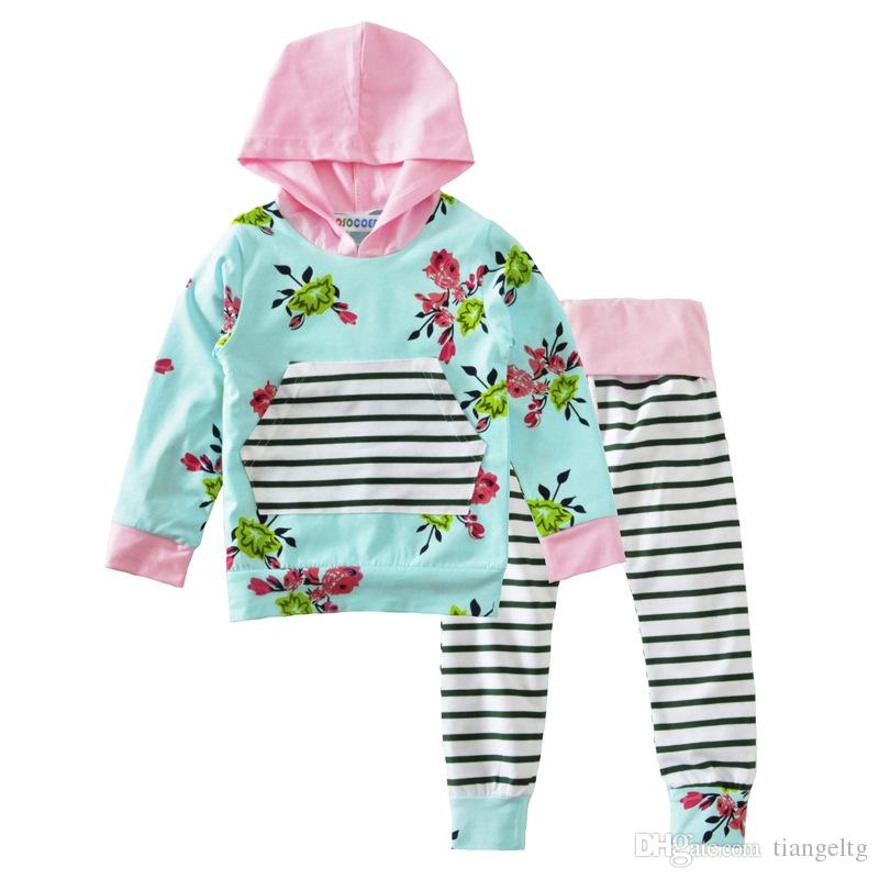 c024f9255ae 2019 Boys Girls Clothing Suits Stripes Winter Autumn Spring Casual Suits  Shirts Pants Hat Infant Outfits Kids Tops   Shorts 0 24M From Tiangeltg