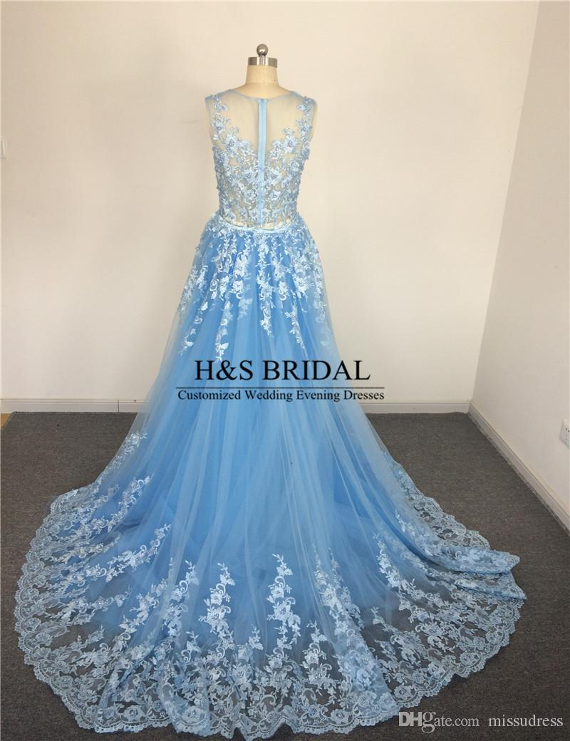 Real Picture vestido de noiva casamento Sheer Neck Blue Wedding Dresses Beaded Pearls Lace Wedding Gown With Detachable Train