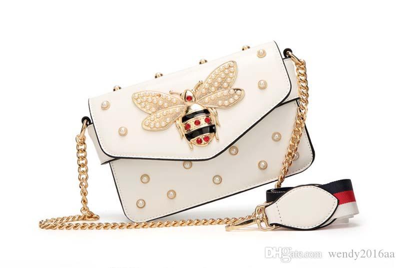 2017 New Bee patten Shoulder Bag Borsa a catena con strass donna elegante ape perla in pelle decorativa Borsa a tracolla