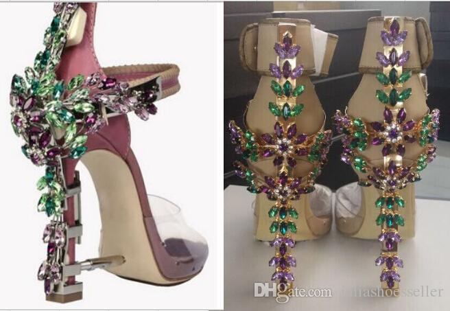 مصمم الأزياء مسنبل عالية الكعب اللمحة تو المرأة الصنادل الأحذية النبيذ strappless rhinstone قفل الصيف حذاء امرأة عالية الجودة فرجينيا العود