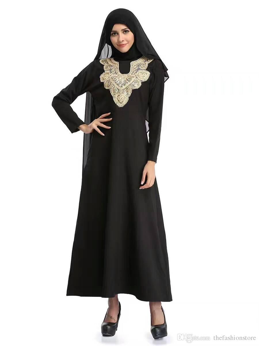 Prezzo di fabbrica Donne musulmane Abito caftano nero M-XLPlus Abito islamico ricamo a manica lunga con jilbab