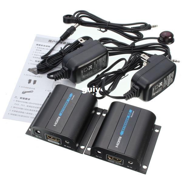 Brand New HDMI 1080P Extender Converter Receiver Sender With IR Upto 60M  Video/Audio Extend Over Cat6/Cat7