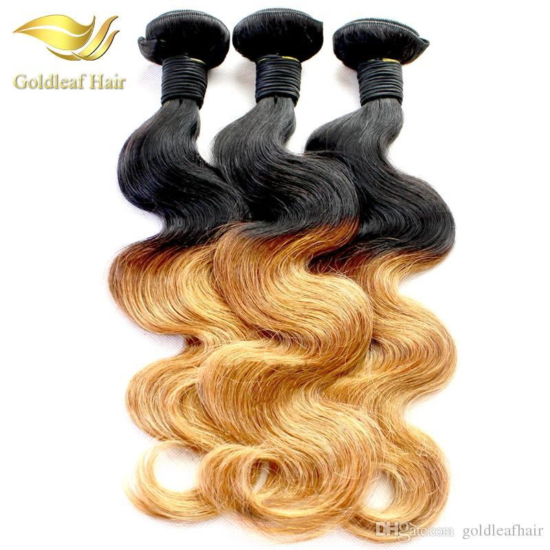Wholesale Two Tone Ombre Hair Body Wave Human Hair Weaving T 1B 27 Ombre Hair Extensions