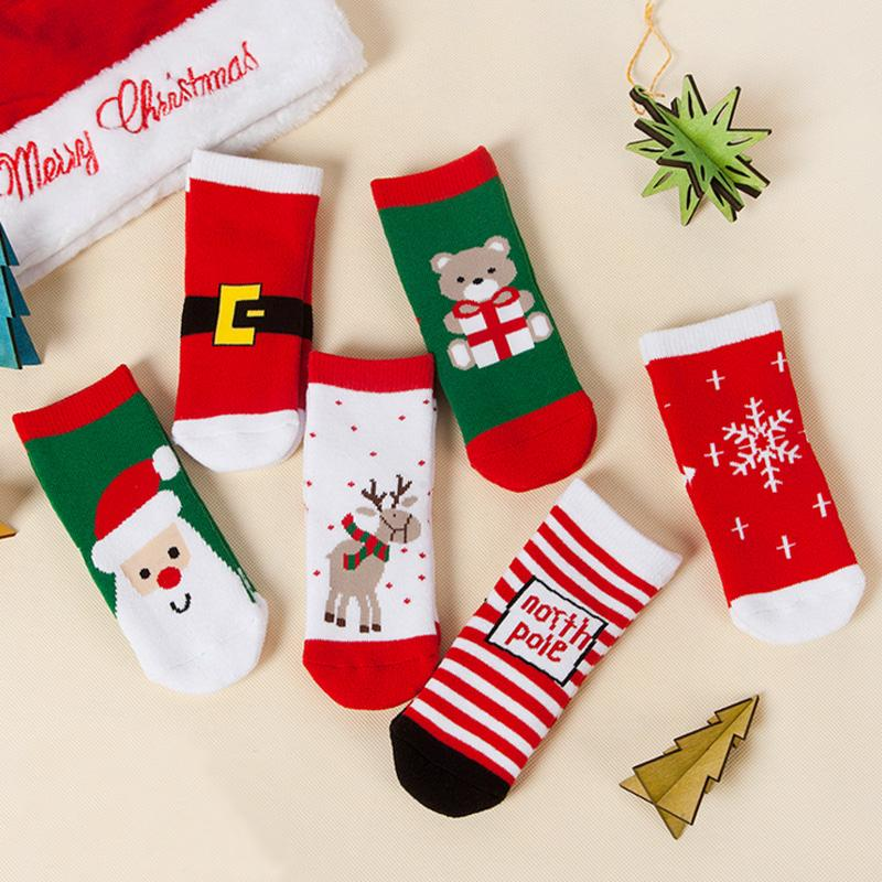 christmas socks for kids girls cotton knitted thick soft ankle socks cartoon reindeer bear snowflake stocking baby socks children xmas gifts sexy knee socks - Girls Christmas Stocking