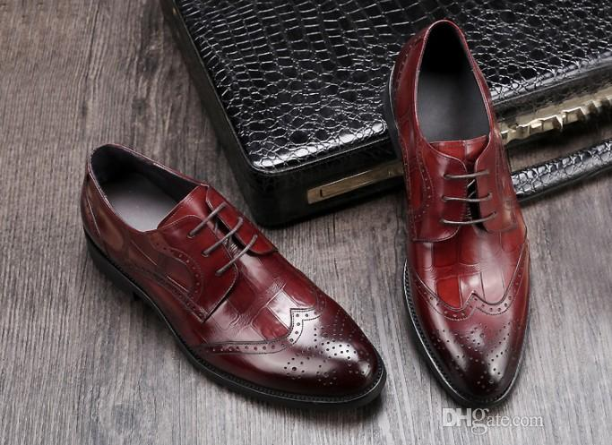 Luxury quality Men leather dress shoes breatheable holes waxed cow leather half munual work Great quality buisness casual shoes