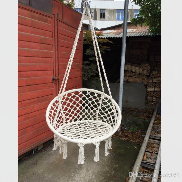 Nordic Style Round Hammock Outdoor Indoor Bedroom Children Swing Bed Kids  Adult Swinging Hanging Single Chair Hammock Furniture Outdoor Indoor Hammock  ...
