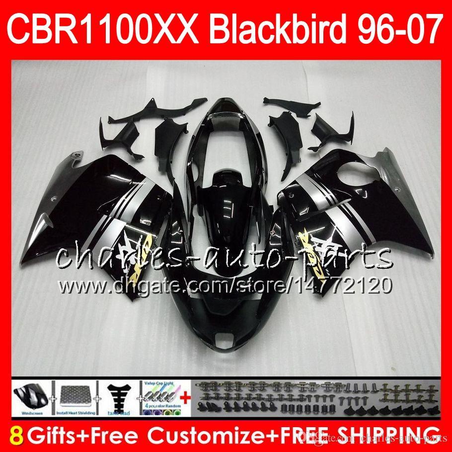 Corps pour Honda Blackbird Brillant Noir CBR1100 XX CBR1100XX 96 97 98 99 00 01 81HM6 CBR 1100 XX 1100XX 1996 1997 1998 1999 2000 2001 Catériel