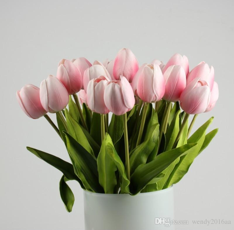 10 pçs / lote Látex Real Toque Tulipa Artificial Flor Bouquet para Festa de Casamento Produtos de Decoração Para Casa