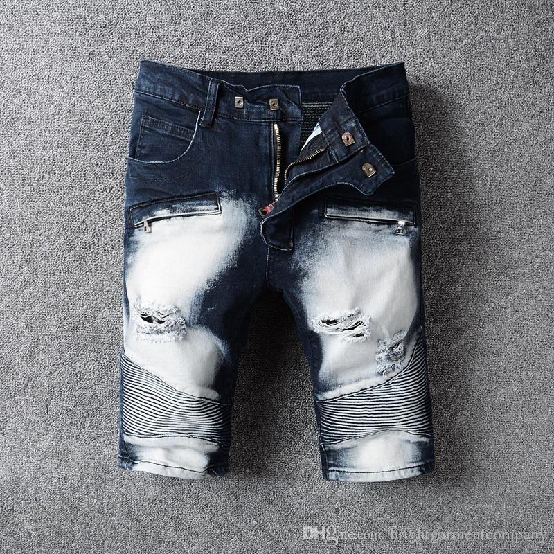b2b2d4a60a Compre 2018 Estilo Americano Y Europeo Para Hombre Elástico Ocasional  Pantalones Cortos De Mezclilla Pantalones Vaqueros De Los Hombres Jeans De  Verano Para ...