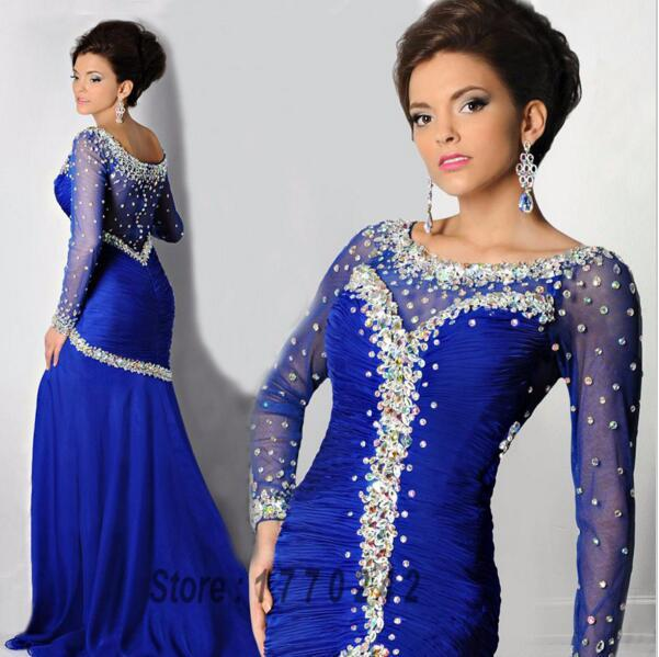 Royal Blue Mermaid Long Sleeves Prom Dresses Crystals Beaded Abendkleider Robe de soriee Long Party Gowns Arabic Dubai Formal Evening Gowns