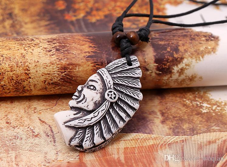 Fashion Jewelry Indian head Necklace Men's Personality Wax Rope Beaded Resin Clavicle Necklace Casual Vintage Punk Necklace N0007