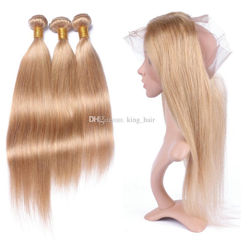 Шелковистые прямые волосы утка с предварительно сорвал 360 фронтальная 4 шт./лот мед блондинка 27 волос 3 пучки с 360 фронтальная 22.5x4x2r